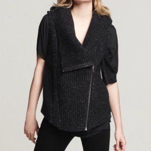 Helmut Lang Boiled Wool Hooded Vest Sz M